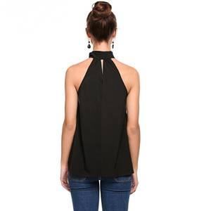 Блуза для офиса черная без рукавов Р9141