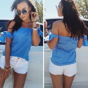 Блуза летняя синяя Р9145