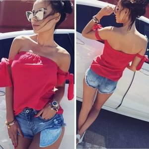 Блуза летняя красная Р9146