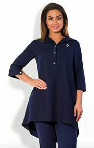 Туника туники-рубашки черная стильная Р9033