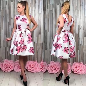 Платье короткое белое с принтом Р9124