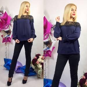 Блуза с кружевом с длинным рукавом Р9188