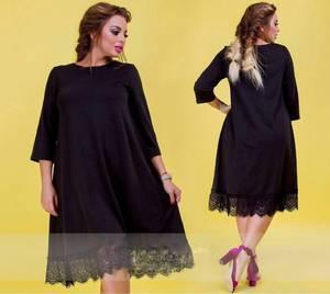 Платье короткое с кружевом черное Р9480