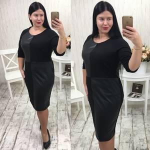 Платье короткое офисное черное Р9481