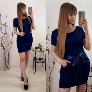 Платье короткое коктейльное синее Р9606