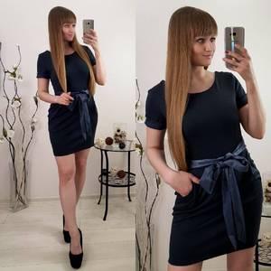 Платье короткое коктейльное черное Р9607