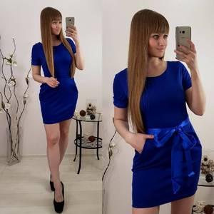 Платье короткое коктейльное синее Р9608