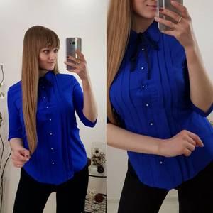 Рубашка синяя однотонная Р9616