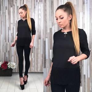 Блуза черная для офиса с кружевом С0140