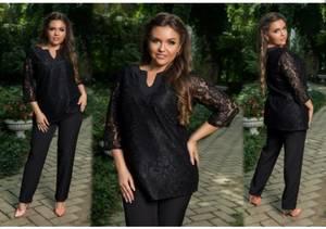 Костюм вечерний модный черный С0302