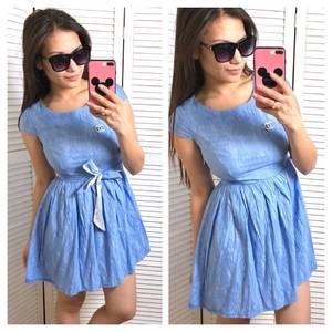 Платье короткое однотонное синее С0560