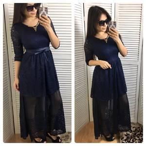Платье длинное синее вечернее С0616