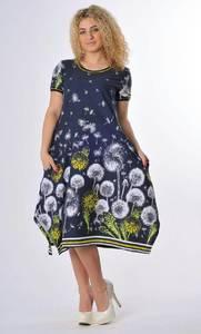 Платье короткое трикотажное с принтом С0638