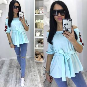 Блуза летняя голубая С0665