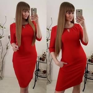 Платье короткое облегающее красное С0761