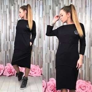 Платье длинное повседневное черное С0760