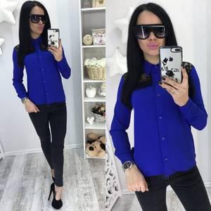 Рубашка синяя однотонная с длинным рукавом С7748