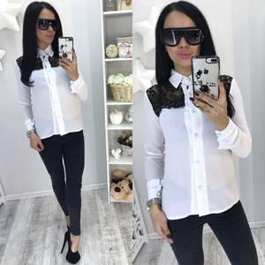 Рубашка белая прозрачная с длинным рукавом С7749