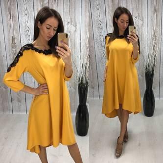 Платье короткое желтое с кружевом С7693