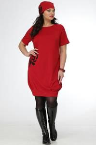 Платье короткое трикотажное с принтом С7688