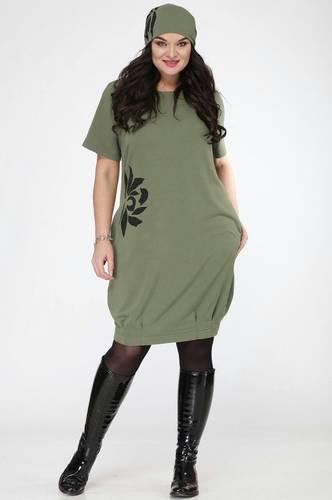 Платье короткое трикотажное с принтом С7690