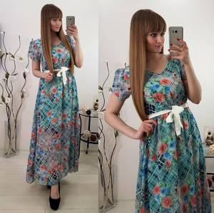Платье длинное летнее с принтом С8033