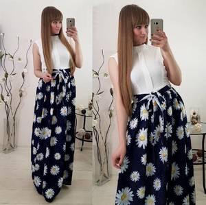 Платье длинное летнее без рукавов С8034
