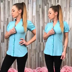 Рубашка однотонная с коротким рукавом С8768