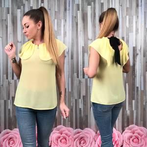 Блуза летняя желтая без рукавов С8783