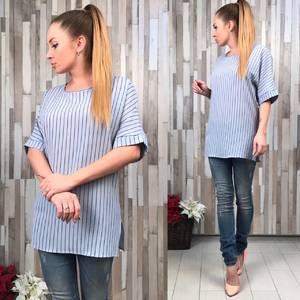 Блуза голубая для офиса с коротким рукавом С8785