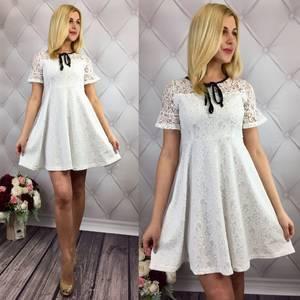 Платье короткое коктейльное белое Т1634