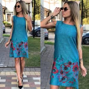 Платье короткое без рукавов с принтом У9557