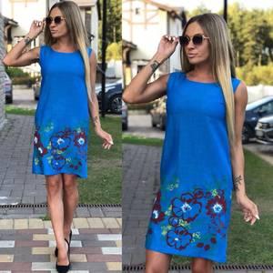 Платье короткое без рукавов с принтом У9558