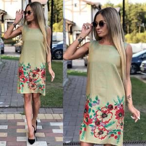 Платье короткое без рукавов с принтом У9560