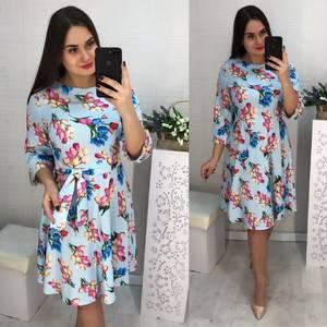 Платье короткое с рукавом 3/4 с принтом Х6193