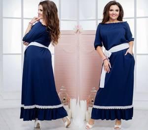 Платье длинное синее нарядное Т7358