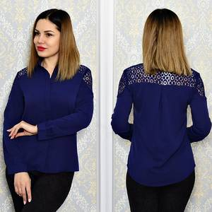 Рубашка синяя с длинным рукавом Р6311