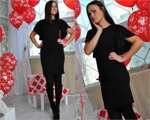 Платье короткое повседневное черное П0978