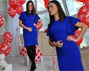 Платье короткое повседневное синее П0976