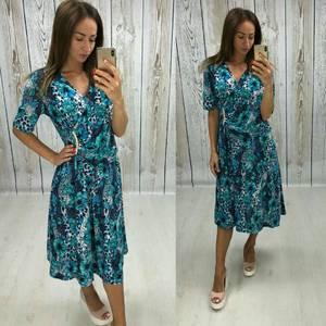 Платье длинное с принтом повседневное Т7918