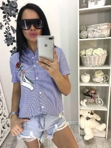 Рубашка в полоску с коротким рукавом С9360
