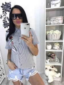 Рубашка в полоску с коротким рукавом С9362