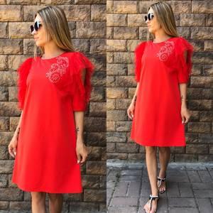 Платье короткое нарядное красное Т7095