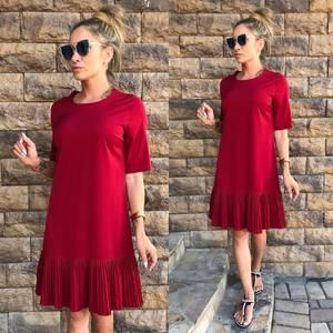 Платье короткое повседневное красное Т7069