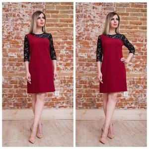 Платье короткое нарядное красное Т7562