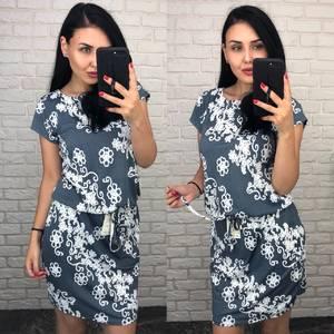 Платье короткое повседневное с принтом Т7589