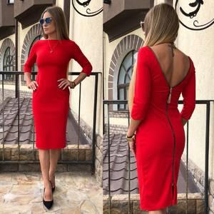 Платье короткое облегающее красное Т7613