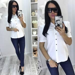 Рубашка белая прозрачная с коротким рукавом С7698