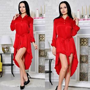 Платье-туника короткое с длинным рукавом современное Т2175
