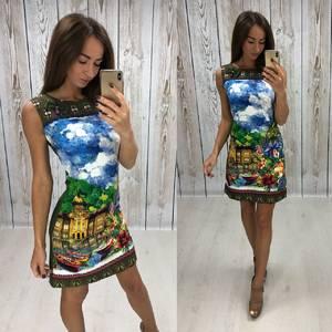 Платье короткое без рукавов с принтом Т4304